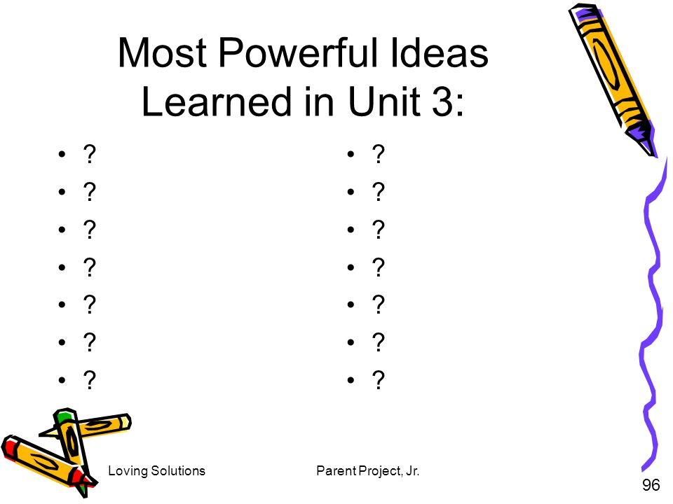 Loving SolutionsParent Project, Jr. Most Powerful Ideas Learned in Unit 3: ? 96