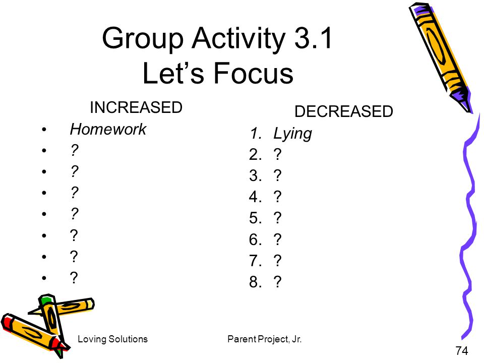 Loving SolutionsParent Project, Jr. Group Activity 3.1 Lets Focus INCREASED Homework ? 74 DECREASED 1.Lying 2.? 3.? 4.? 5.? 6.? 7.? 8.?