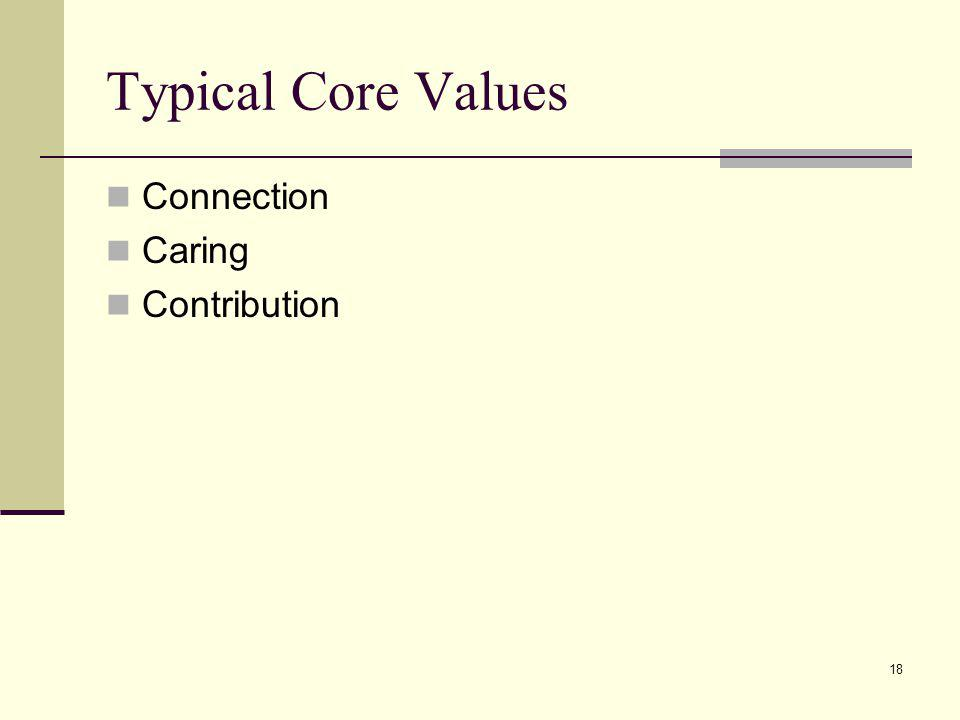 18 Typical Core Values Connection Caring Contribution