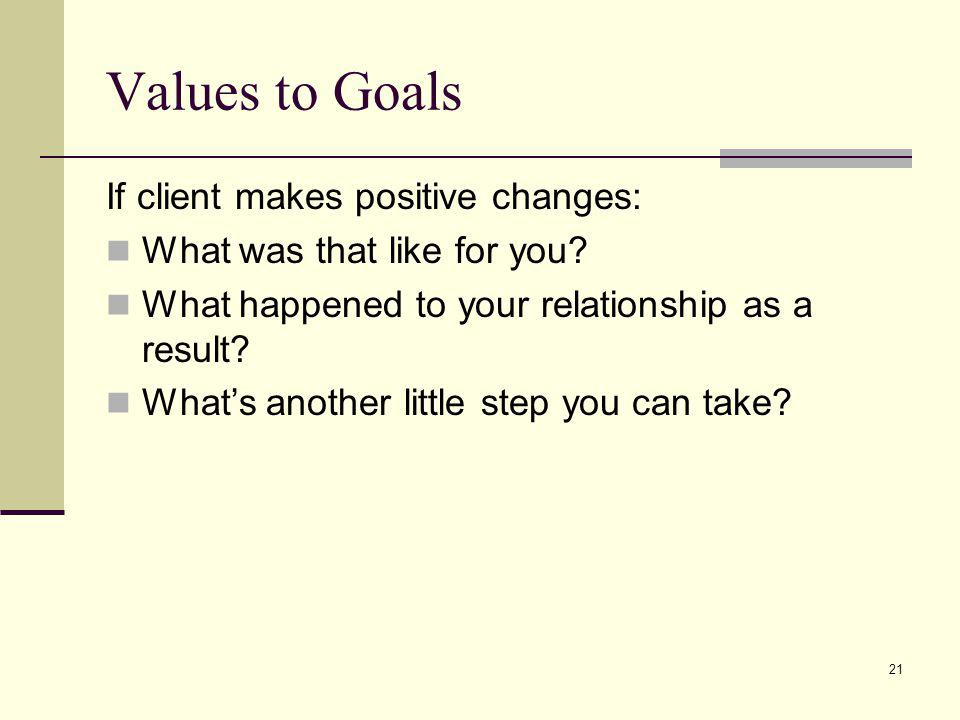 21 Values to Goals If client makes positive changes: What was that like for you? What happened to your relationship as a result? Whats another little