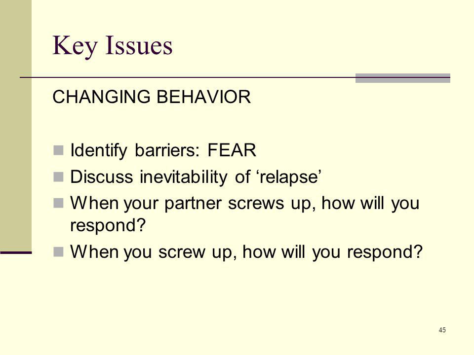 45 Key Issues CHANGING BEHAVIOR Identify barriers: FEAR Discuss inevitability of relapse When your partner screws up, how will you respond? When you s
