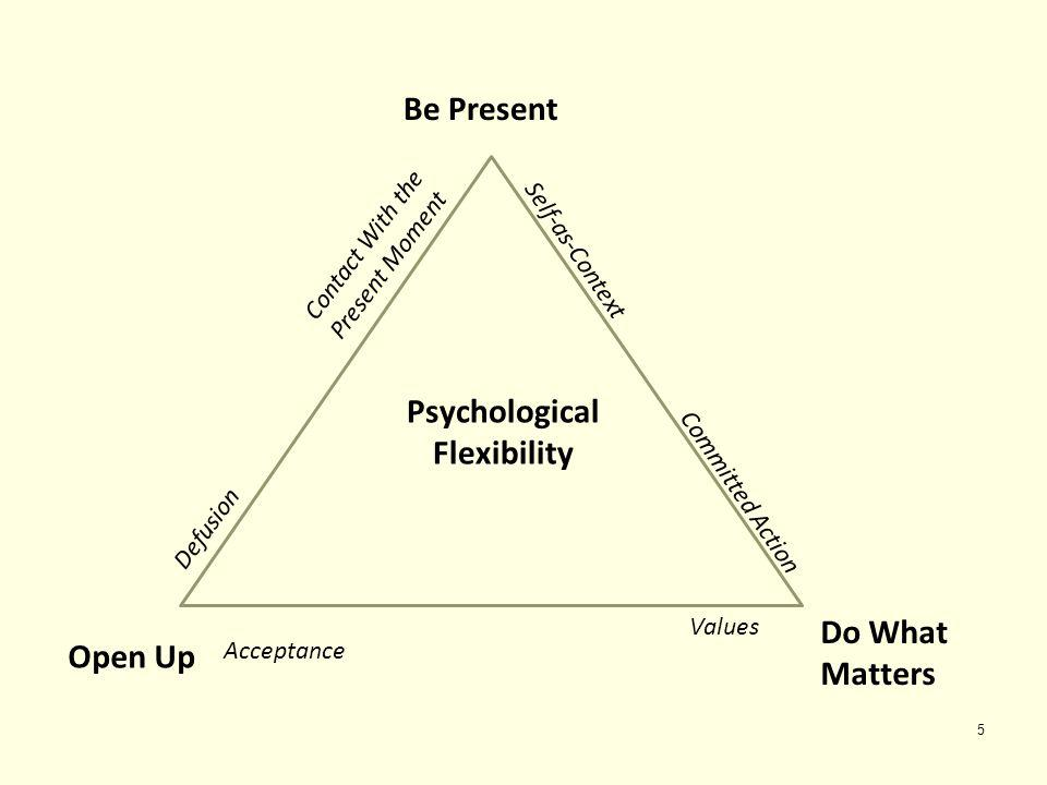 5 Be Present Psychological Flexibility Open Up Do What Matters Defusion Contact With the Present Moment Self-as-Context Committed Action Values Accept