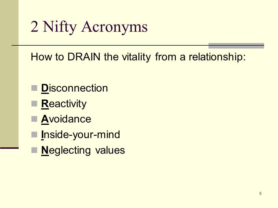6 2 Nifty Acronyms How to DRAIN the vitality from a relationship: Disconnection Reactivity Avoidance Inside-your-mind Neglecting values