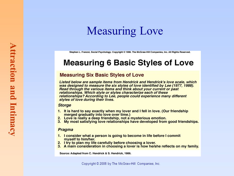 Attraction and Intimacy Copyright © 2008 by The McGraw-Hill Companies, Inc. Measuring Love