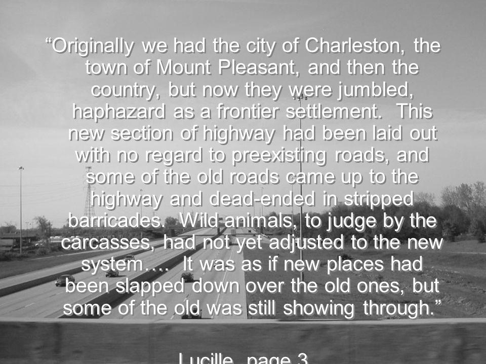 Originally we had the city of Charleston, the town of Mount Pleasant, and then the country, but now they were jumbled, haphazard as a frontier settlement.