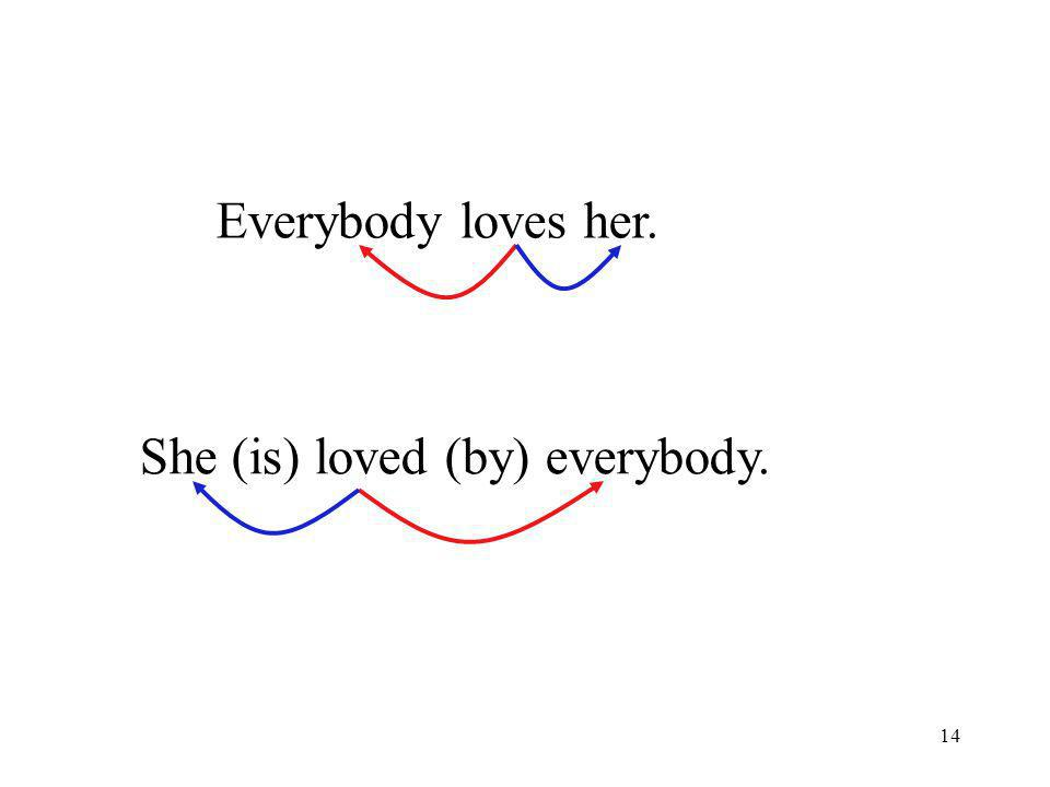 14 Everybody loves her. She (is) loved (by) everybody.