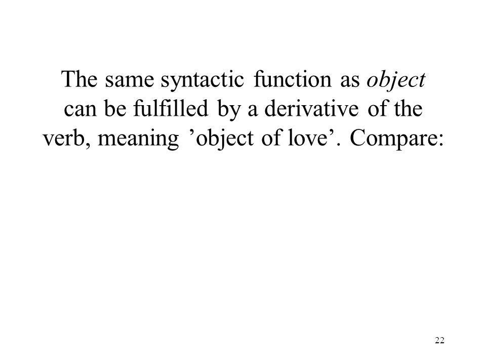 22 The same syntactic function as object can be fulfilled by a derivative of the verb, meaning object of love. Compare:
