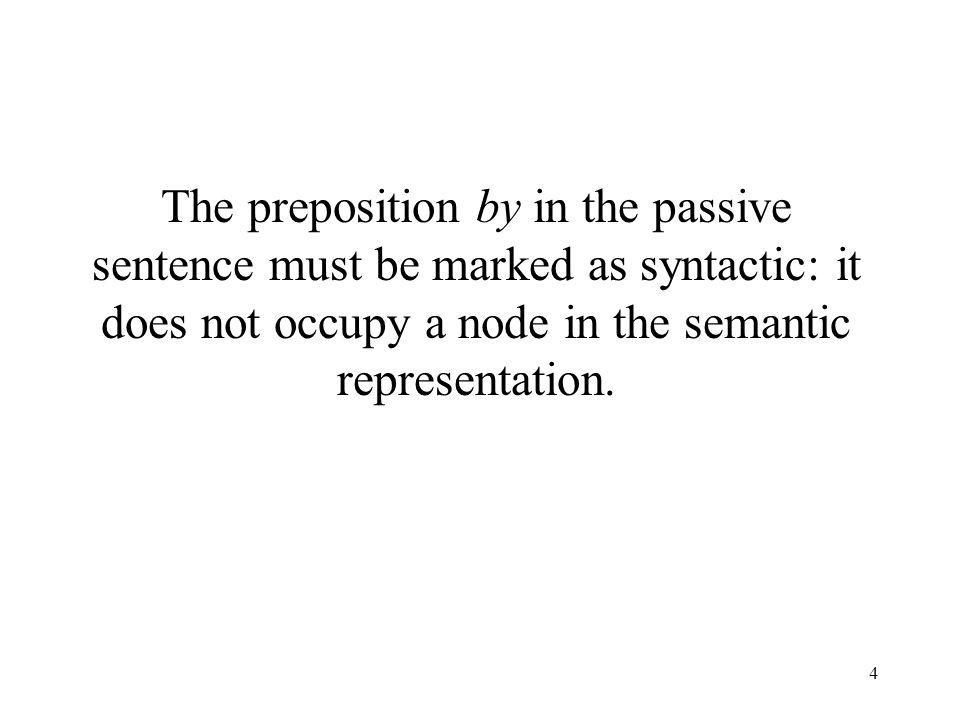 4 The preposition by in the passive sentence must be marked as syntactic: it does not occupy a node in the semantic representation.