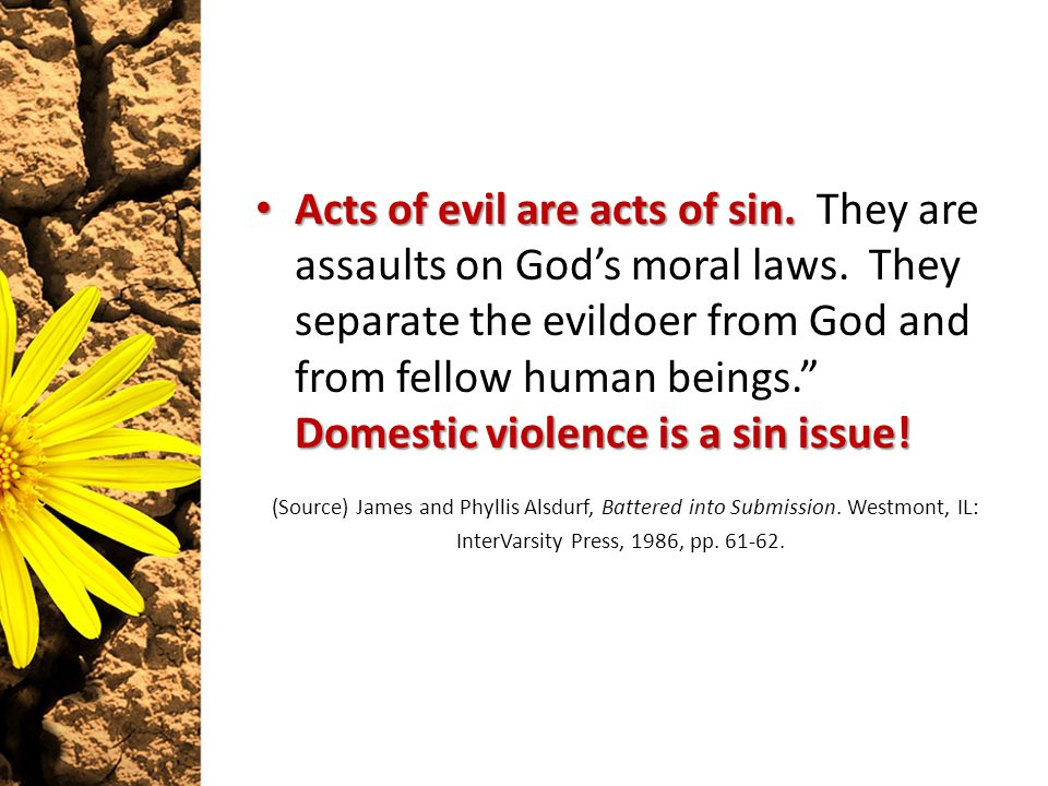 Acts of evil are acts of sin. Domestic violence is a sin issue.