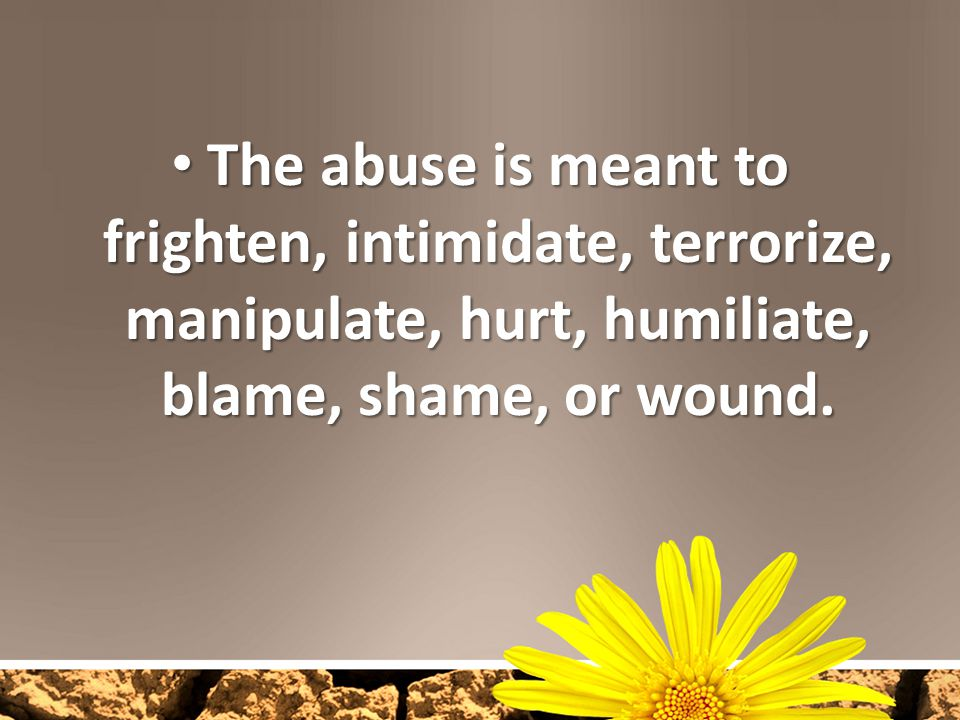 The abuse is meant to frighten, intimidate, terrorize, manipulate, hurt, humiliate, blame, shame, or wound. The abuse is meant to frighten, intimidate