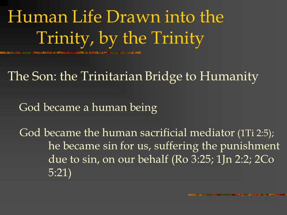 Human Life Drawn into the Trinity, by the Trinity God became a human being The Son: the Trinitarian Bridge to Humanity God became the human sacrificial mediator (1Ti 2:5); he became sin for us, suffering the punishment due to sin, on our behalf (Ro 3:25; 1Jn 2:2; 2Co 5:21)