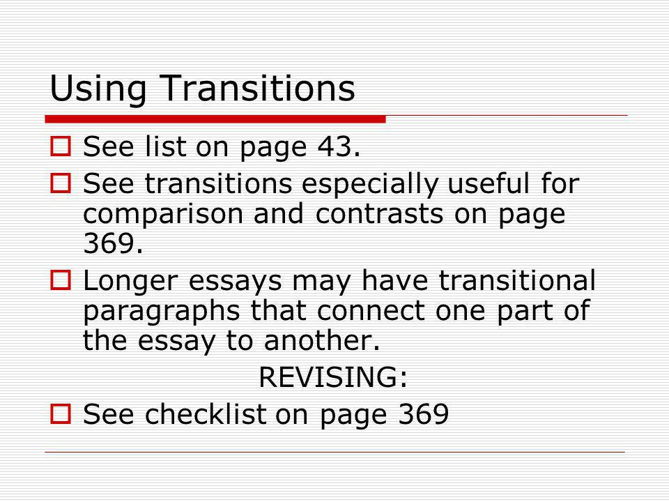 Using Transitions See list on page 43.