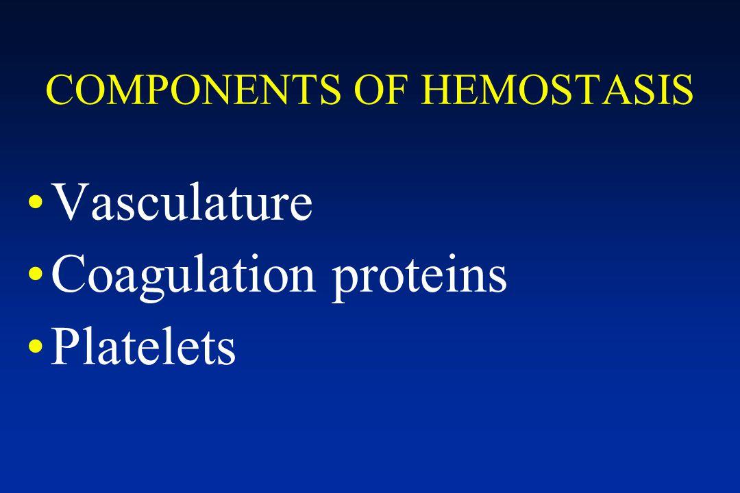 COMPONENTS OF HEMOSTASIS Vasculature Coagulation proteins Platelets