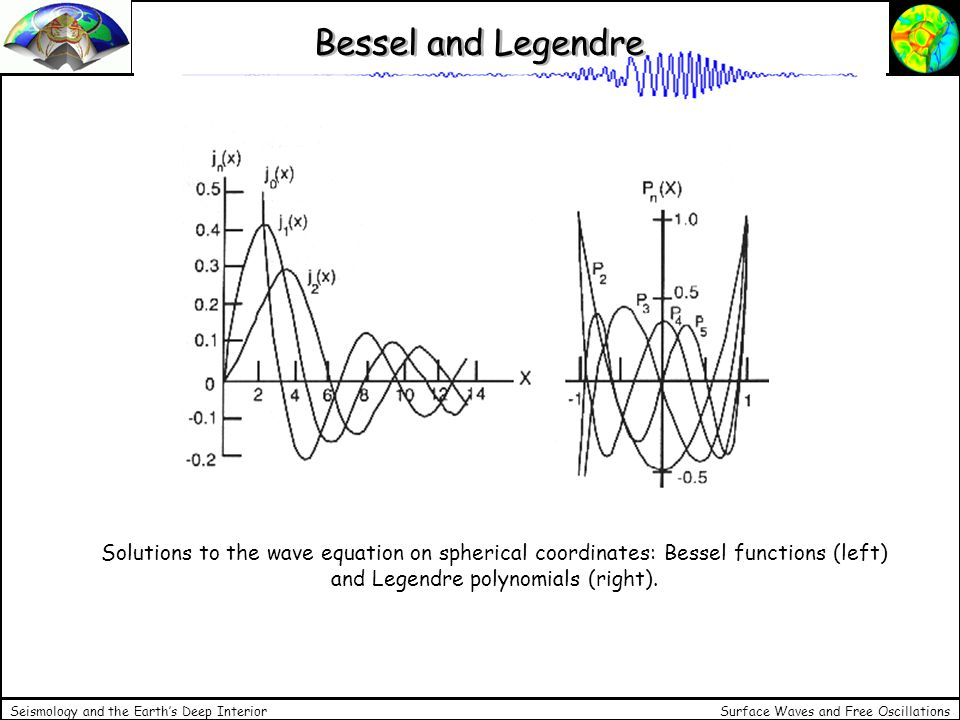Surface Waves and Free Oscillations Seismology and the Earths Deep Interior Bessel and Legendre Solutions to the wave equation on spherical coordinate
