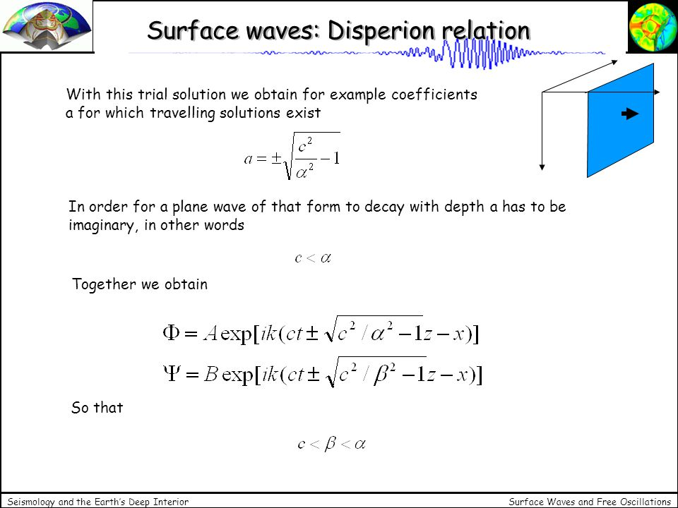 Surface Waves and Free Oscillations Seismology and the Earths Deep Interior Surface Waves: Summary Rayleigh waves are solutions to the elastic wave equation given a half space and a free surface.