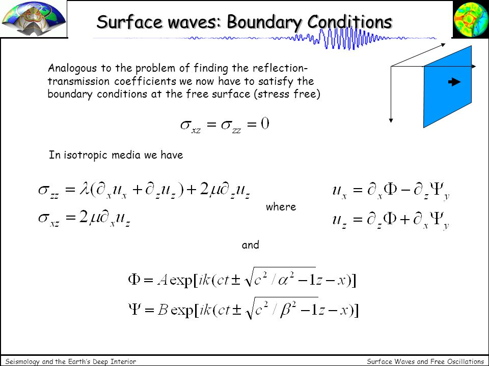 Surface Waves and Free Oscillations Seismology and the Earths Deep Interior Rayleigh waves: solutions This leads to the following relationship for c, the phase velocity: For simplicity we take a fixed relationship between P and shear-wave velocity … to obtain … and the only root which fulfills the condition is