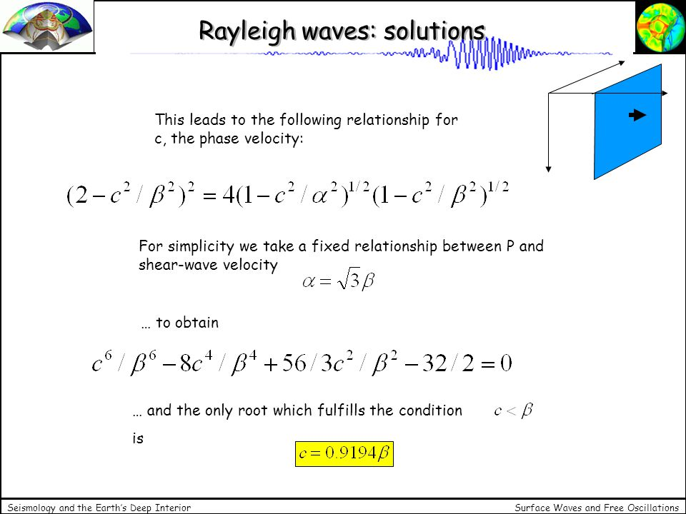 Surface Waves and Free Oscillations Seismology and the Earths Deep Interior Displacement Putting this value back into our solutions we finally obtain the displacement in the x-z plane for a plane harmonic surface wave propagating along direction x This development was first made by Lord Rayleigh in 1885.