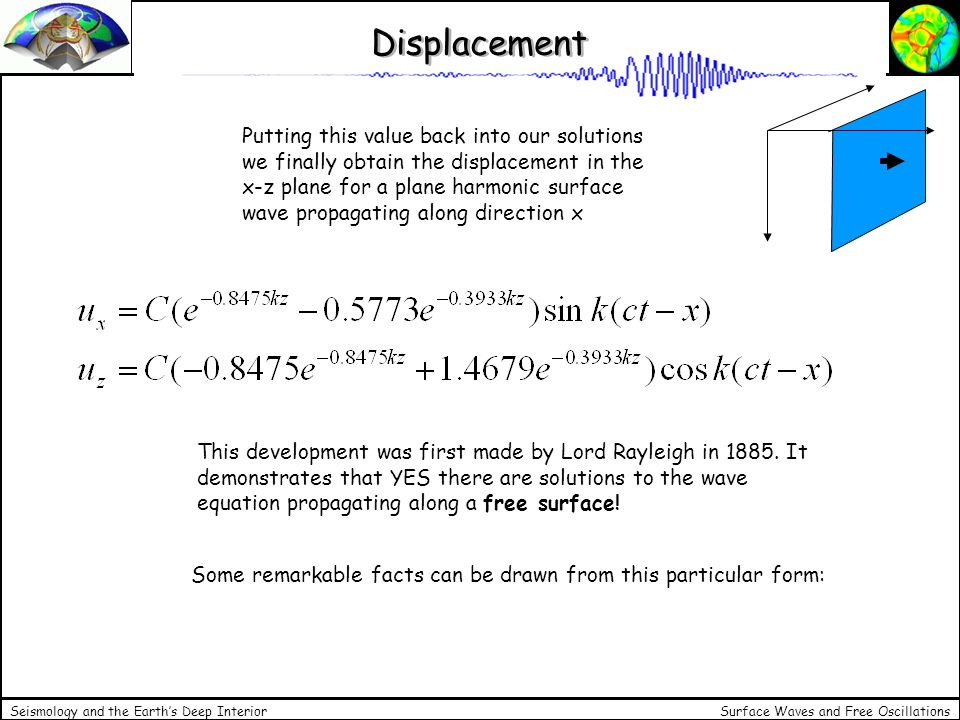 Surface Waves and Free Oscillations Seismology and the Earths Deep Interior Lambs Problem -the two components are out of phase by for small values of z a particle describes an ellipse and the motion is retrograde - at some depth z the motion is linear in z - below that depth the motion is again elliptical but prograde - the phase velocity is independent of k: there is no dispersion for a homogeneous half space - the problem of a vertical point force at the surface of a half space is called Lambs problem (after Horace Lamb, 1904).