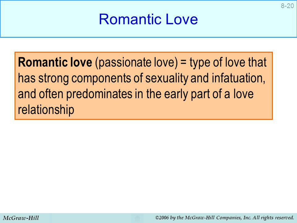 McGraw-Hill ©2006 by the McGraw-Hill Companies, Inc. All rights reserved. 8-20 Romantic Love Romantic love (passionate love) = type of love that has s