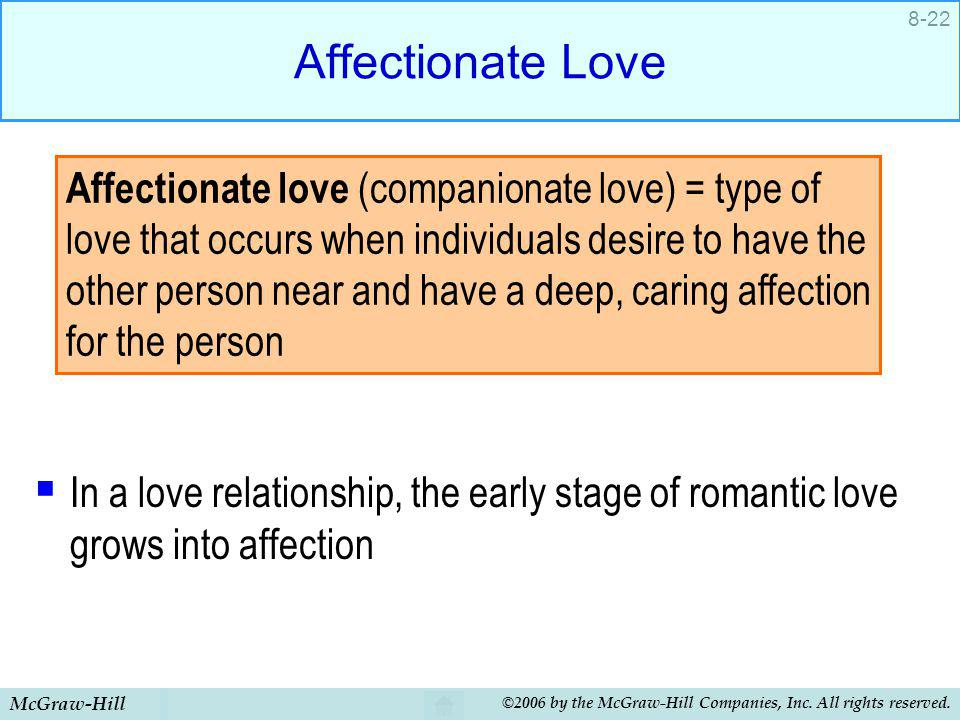 McGraw-Hill ©2006 by the McGraw-Hill Companies, Inc. All rights reserved. 8-22 Affectionate Love In a love relationship, the early stage of romantic l
