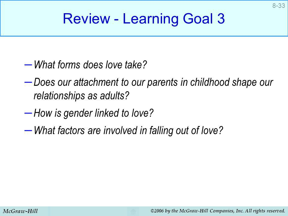 McGraw-Hill ©2006 by the McGraw-Hill Companies, Inc. All rights reserved. 8-33 Review - Learning Goal 3 – What forms does love take? – Does our attach