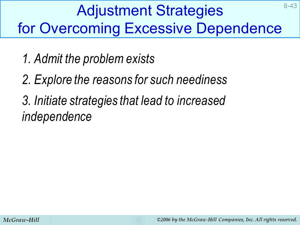 McGraw-Hill ©2006 by the McGraw-Hill Companies, Inc. All rights reserved. 8-43 Adjustment Strategies for Overcoming Excessive Dependence 1. Admit the
