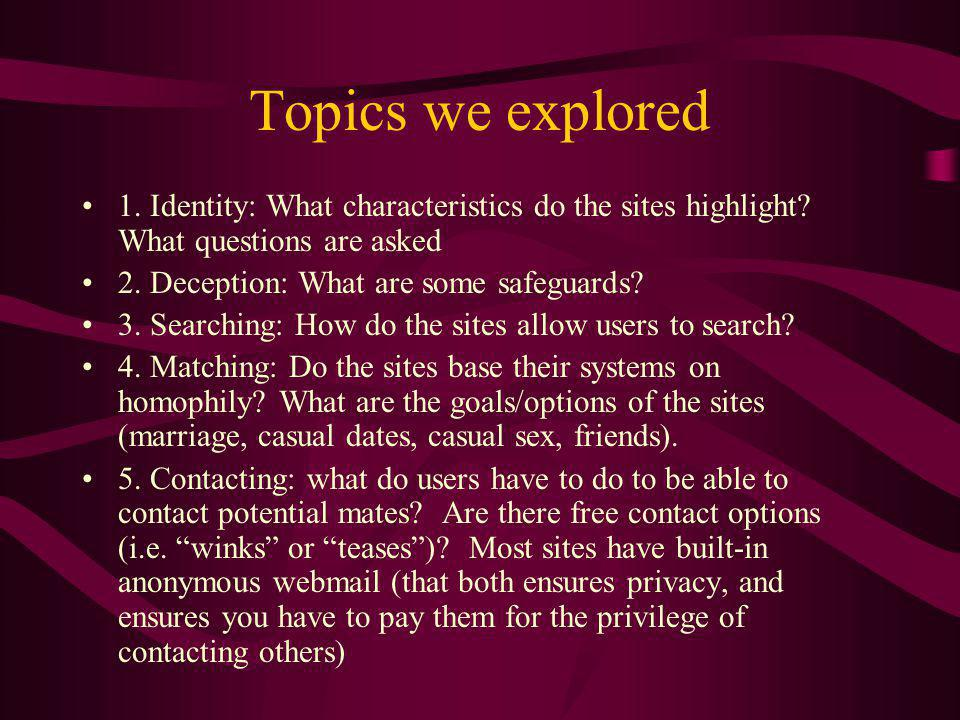 Topics we explored 1. Identity: What characteristics do the sites highlight.