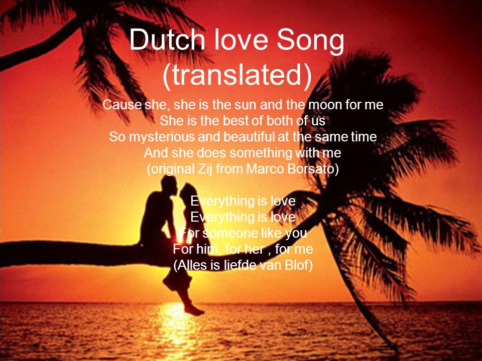 Dutch love Song (translated) Cause she, she is the sun and the moon for me She is the best of both of us So mysterious and beautiful at the same time And she does something with me (original Zij from Marco Borsato) Everything is love For someone like you For him, for her, for me (Alles is liefde van Blof)