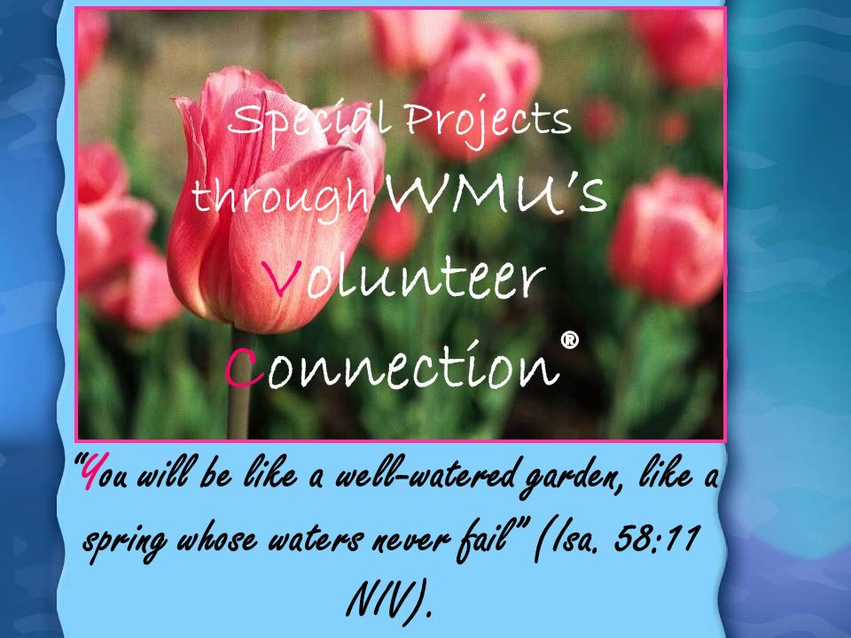 Special Projects through WMUs Volunteer Connection ® You will be like a well-watered garden, like a spring whose waters never fail (Isa. 58:11 NIV).