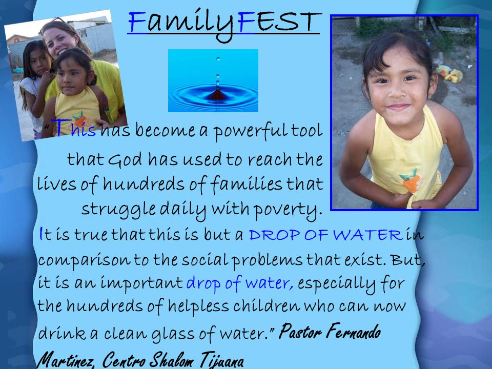 I t is true that this is but a DROP OF WATER in comparison to the social problems that exist. But, it is an important drop of water, especially for th