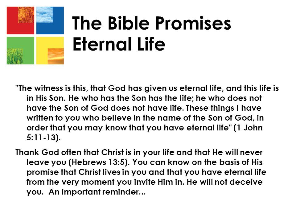 The witness is this, that God has given us eternal life, and this life is in His Son.