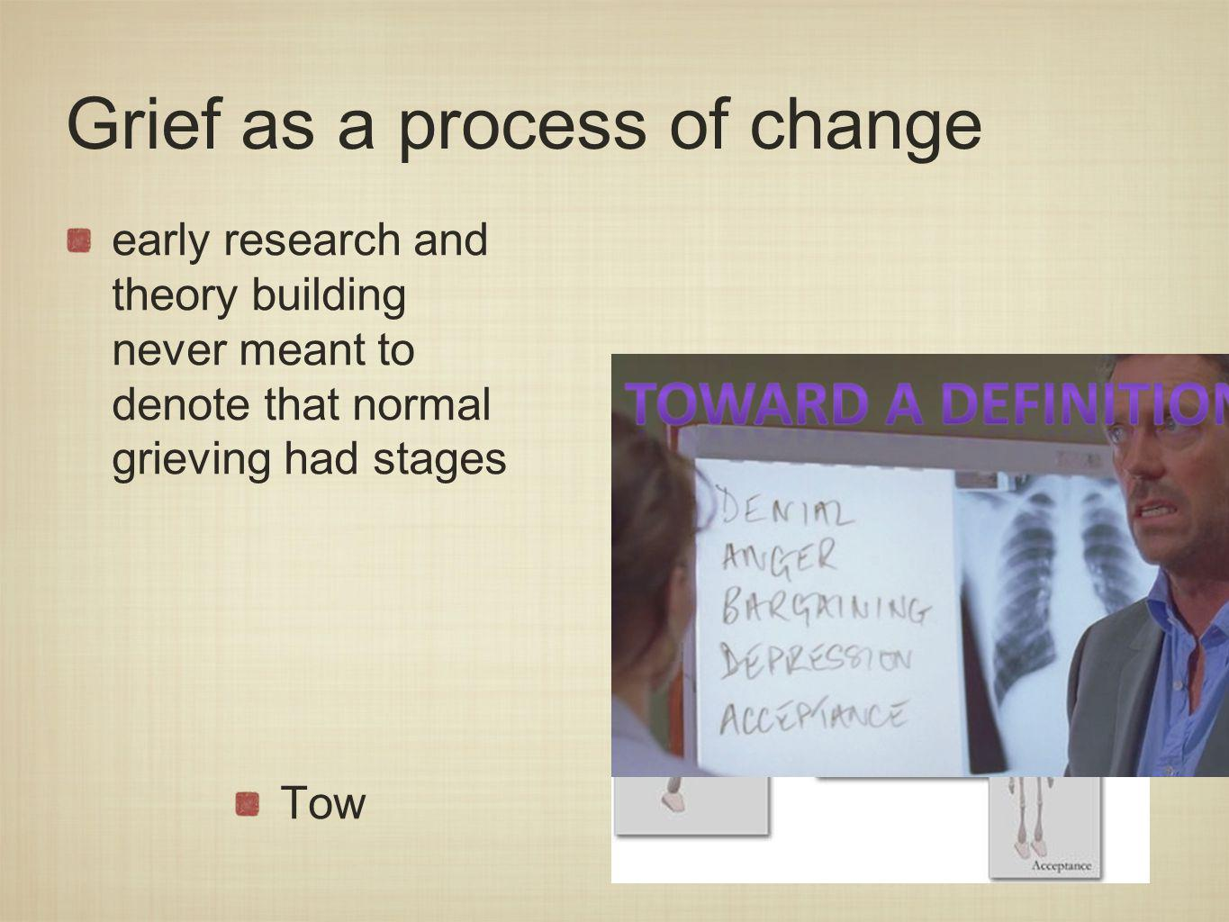 Grief as a process of change early research and theory building never meant to denote that normal grieving had stages Tow