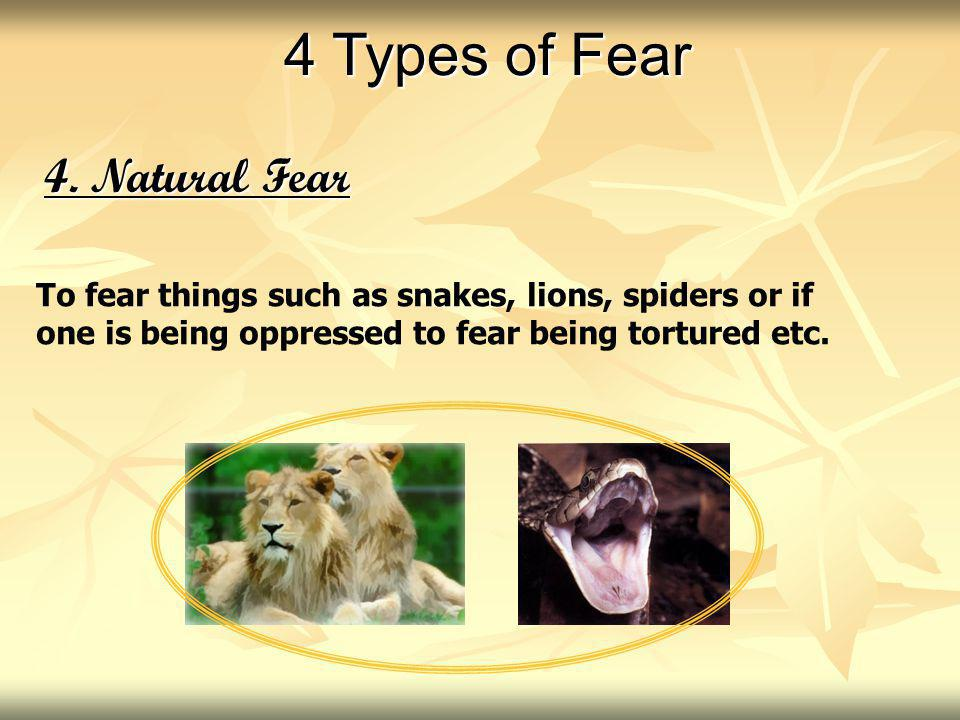 4. Natural Fear To fear things such as snakes, lions, spiders or if one is being oppressed to fear being tortured etc. 4 Types of Fear