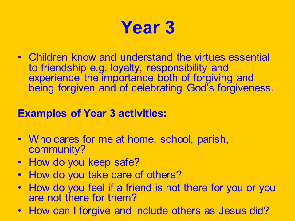 Year 3 Children know and understand the virtues essential to friendship e.g.