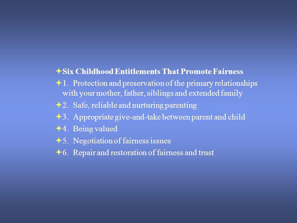 Six Childhood Entitlements That Promote Fairness 1.