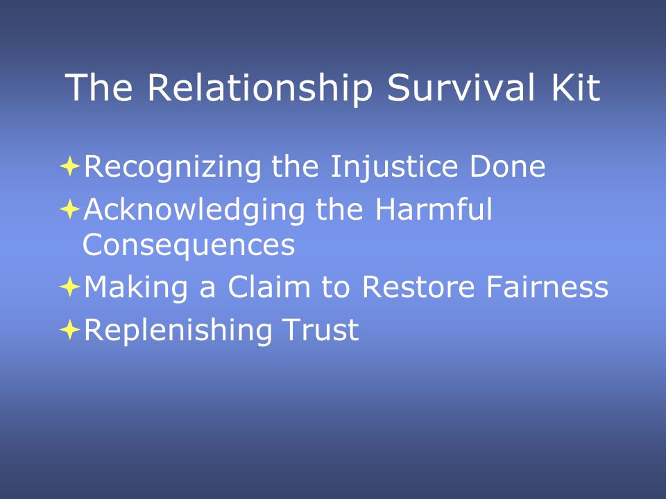 The Relationship Survival Kit Recognizing the Injustice Done Acknowledging the Harmful Consequences Making a Claim to Restore Fairness Replenishing Trust Recognizing the Injustice Done Acknowledging the Harmful Consequences Making a Claim to Restore Fairness Replenishing Trust