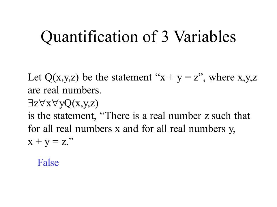 Quantification of 3 Variables Let Q(x,y,z) be the statement x + y = z, where x,y,z are real numbers.