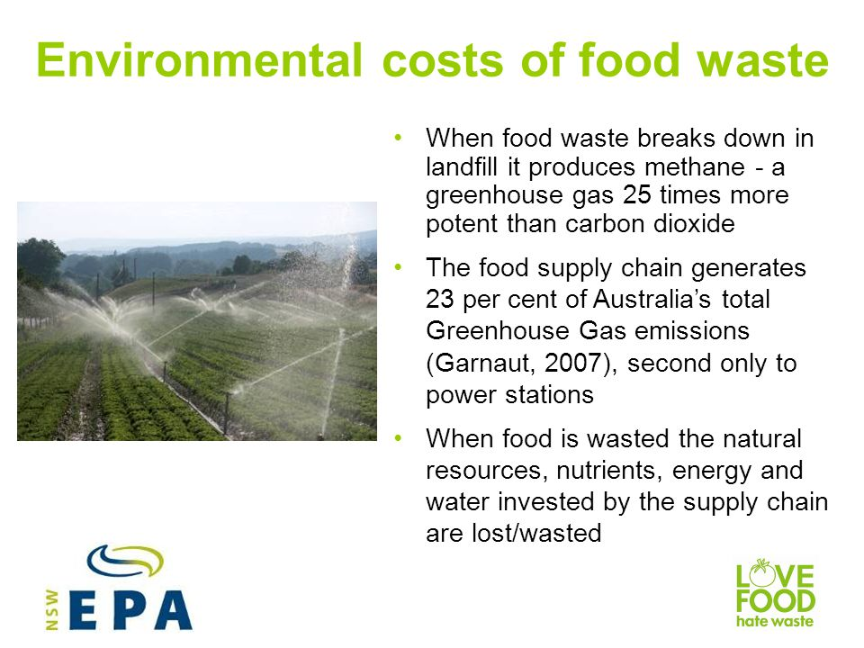 Financial costs of food waste NSW households throw away $2.5 billion worth of edible food each year Fresh food ($848M) and leftovers ($694M) are thrown away in greatest quantities Each NSW household throws away more than $1,000 worth of edible food each year Up to 60% of food waste may be potentially avoidable (WRAP, 2008)