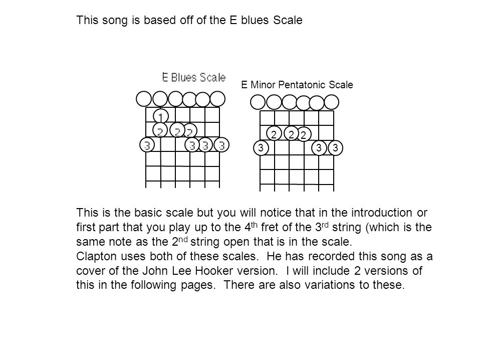 This song is based off of the E blues Scale 333 2 22 E Minor Pentatonic Scale This is the basic scale but you will notice that in the introduction or