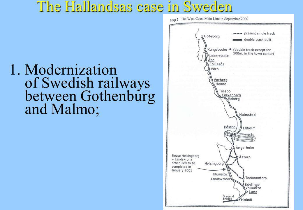 The Hallandsas case in Sweden 1. Modernization of Swedish railways between Gothenburg and Malmo;