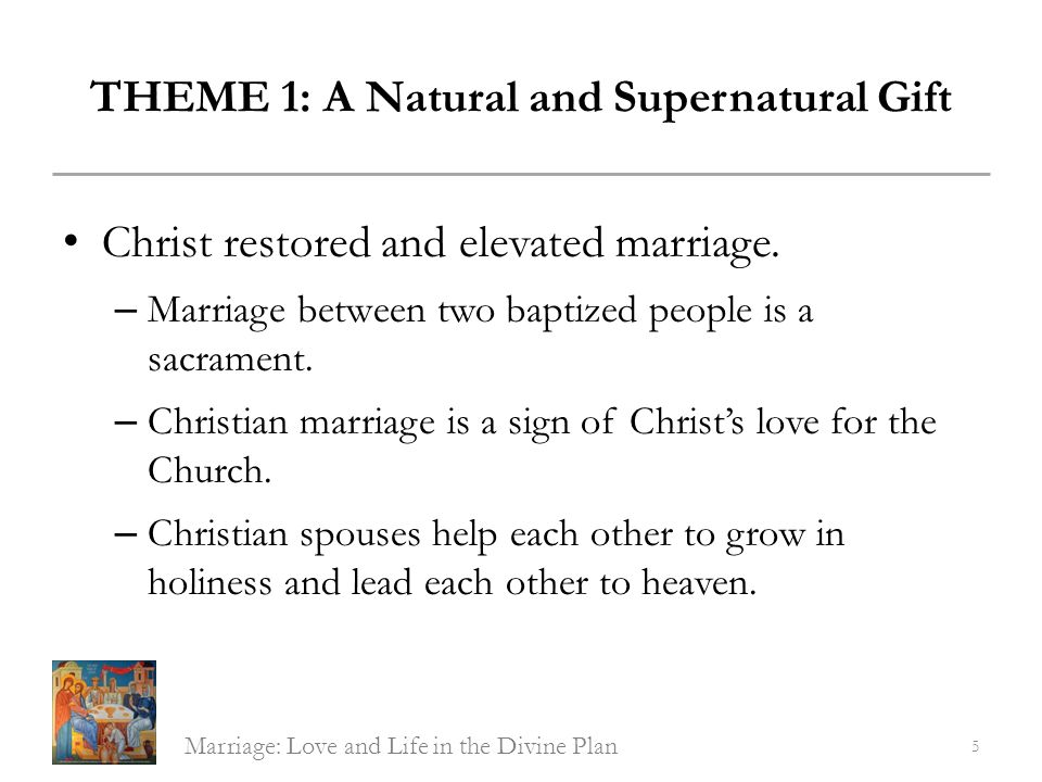 THEME 4: Sacrament of Christs Love Grace of the Sacrament of Marriage: Jesus will help the couple to continue in love even when it seems impossible.