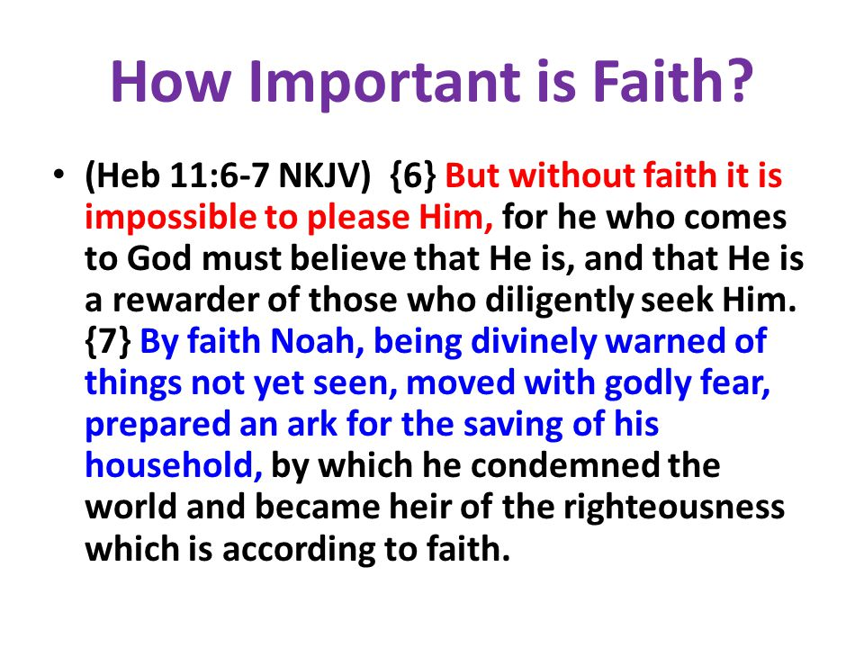 How Important is Faith? (Heb 11:6-7 NKJV) {6} But without faith it is impossible to please Him, for he who comes to God must believe that He is, and t