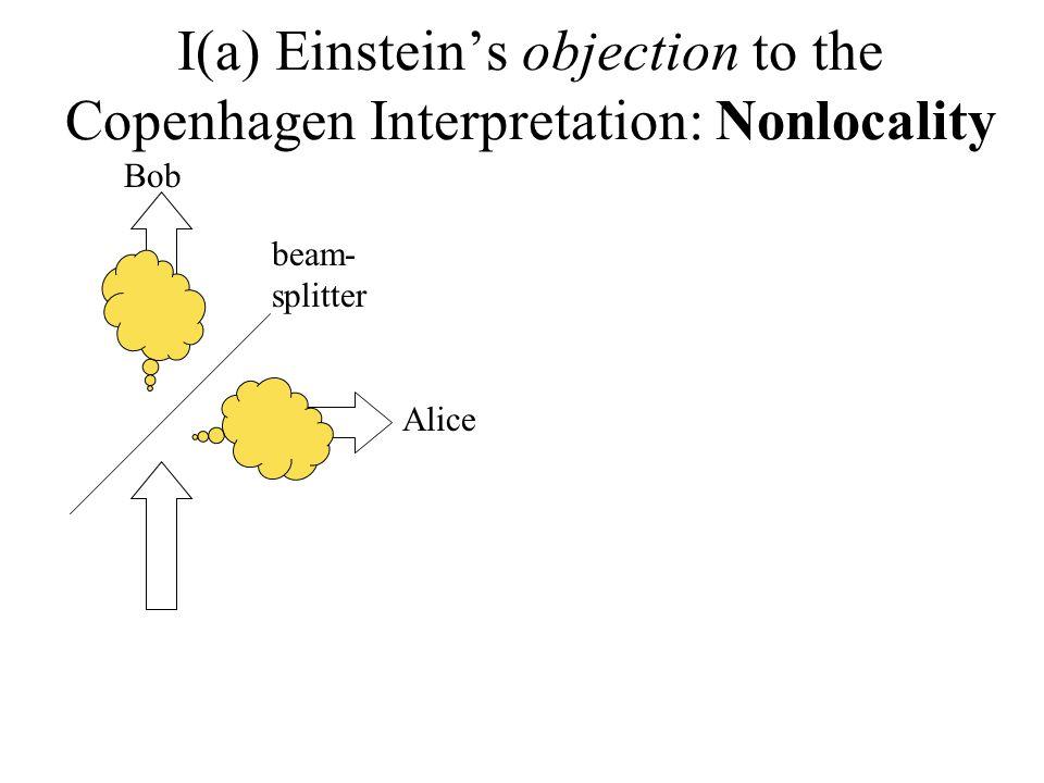 I(a) Einsteins objection to the Copenhagen Interpretation: Nonlocality beam- splitter Bob Alice