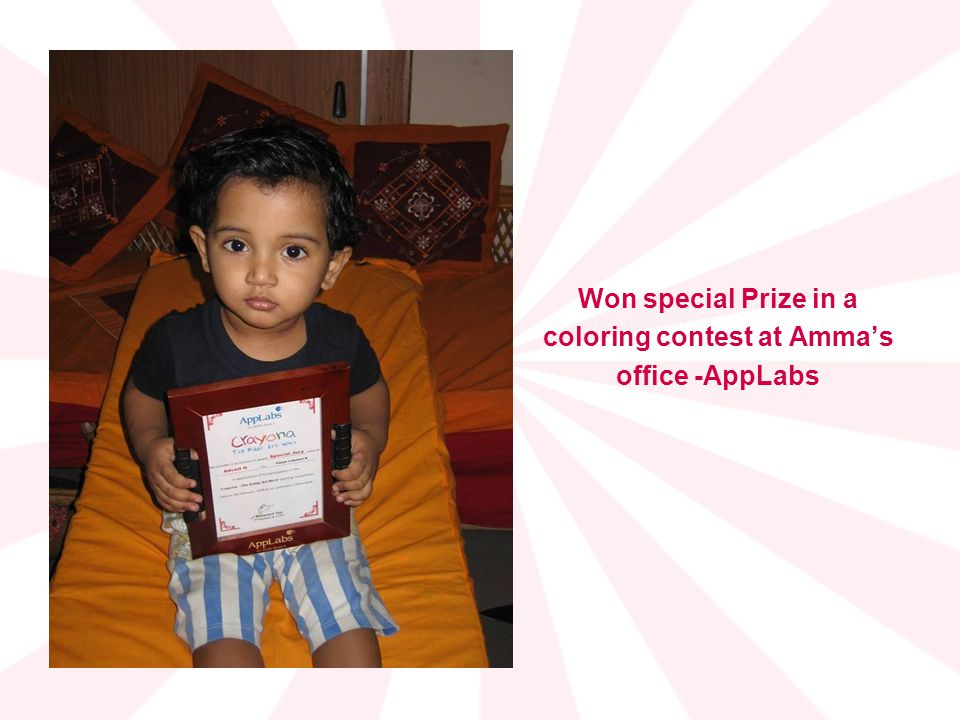 Won special Prize in a coloring contest at Ammas office -AppLabs