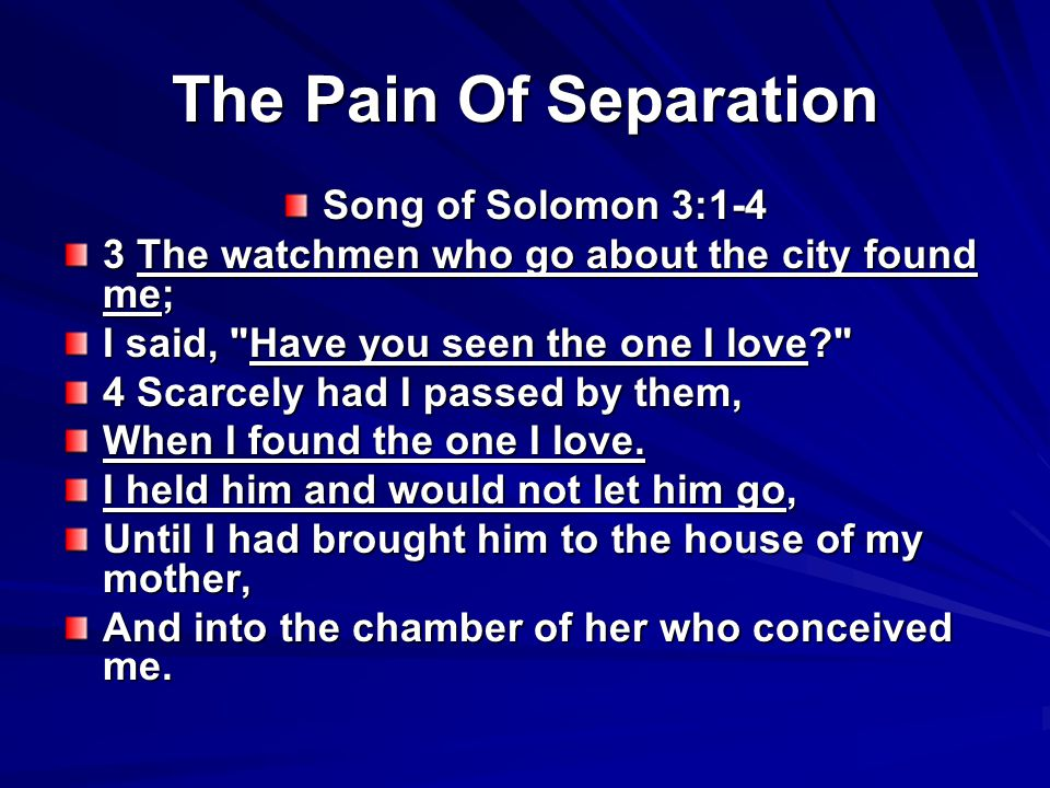 The Pain Of Separation Song of Solomon 3:1-4 3 The watchmen who go about the city found me; I said, Have you seen the one I love 4 Scarcely had I passed by them, When I found the one I love.