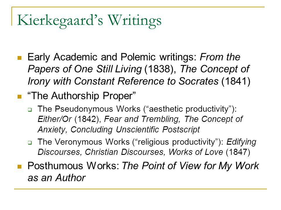 Reading Kierkegaard Task: to make difficulties everywhere The problem of pseudonymity Existential truth and indirect communication The thing is to find a truth which is truth for me, to find that idea for which I want to live and die.