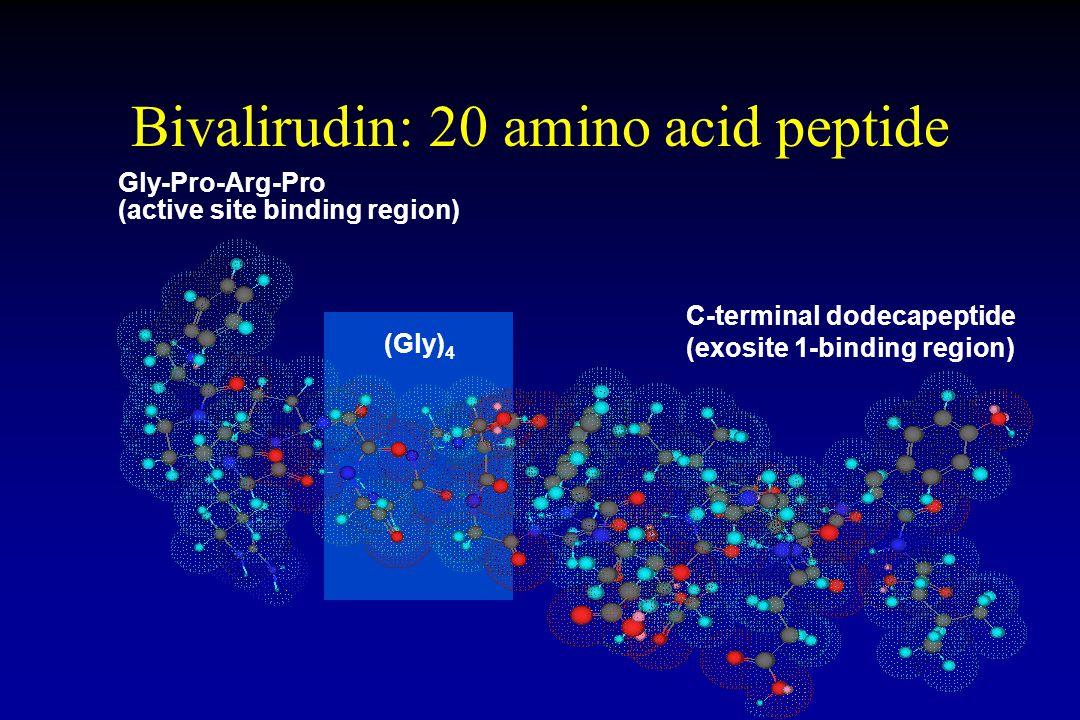 Bivalirudin: 20 amino acid peptide Gly-Pro-Arg-Pro (active site binding region) (Gly) 4 C-terminal dodecapeptide (exosite 1-binding region)