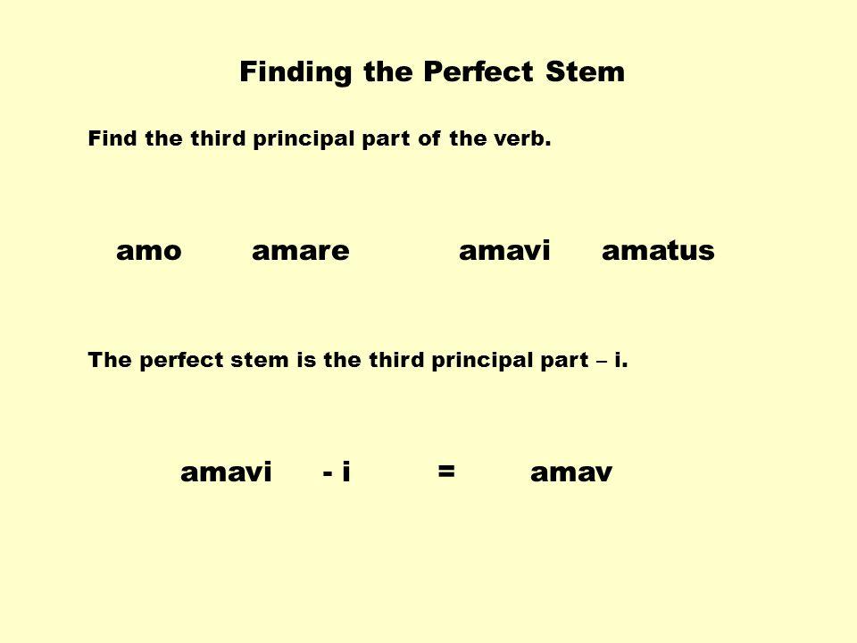 Finding the Perfect Stem amaviamareamatusamo The perfect stem is the third principal part – i.