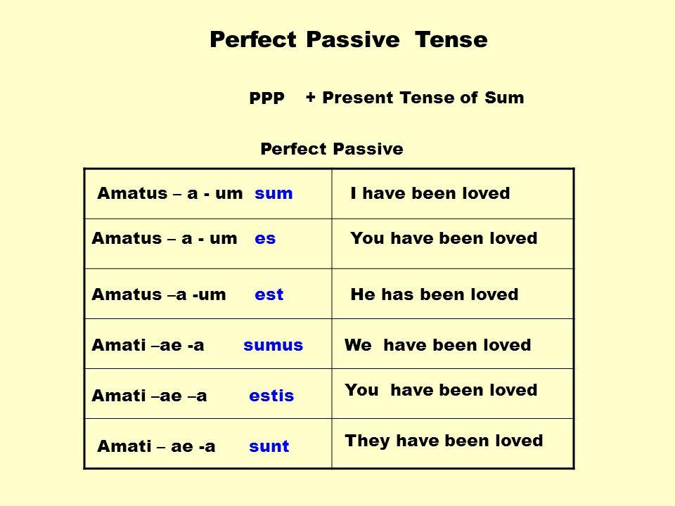 Perfect Passive Tense PPP+ Present Tense of Sum Amatus – a - um Amati –ae -a Amati –ae –a Amati – ae -a sum es est sumus estis sunt You have been loved I have been loved He has been loved You have been loved We have been loved They have been loved Perfect Passive