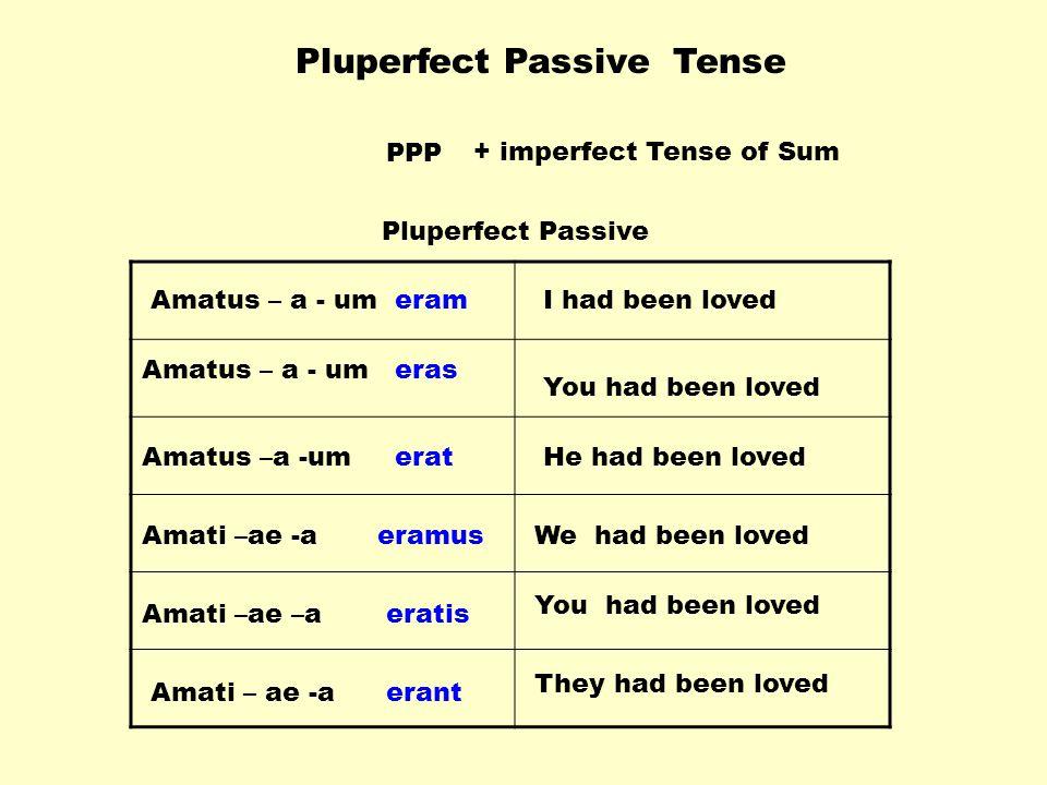 Pluperfect Passive Tense PPP+ imperfect Tense of Sum Amatus – a - um Amati –ae -a Amati –ae –a Amati – ae -a eram eras erat eramus eratis erant You had been loved I had been loved He had been loved You had been loved We had been loved They had been loved Pluperfect Passive